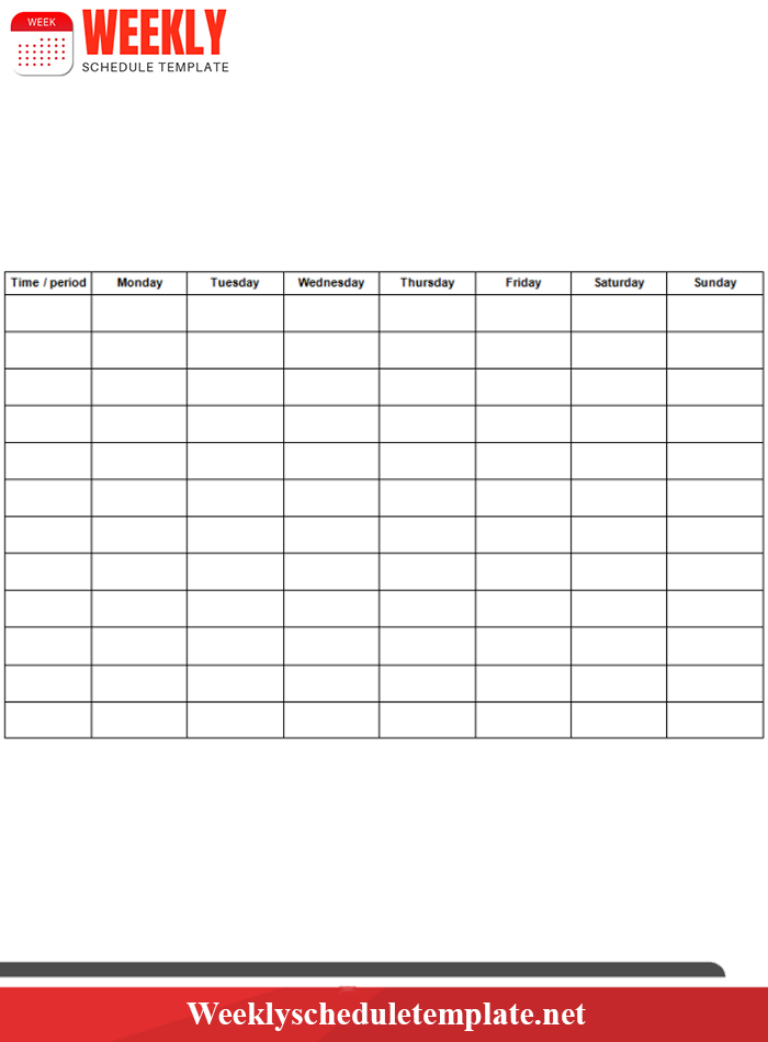 Blank Weekly Planner Template 2019 in Excel