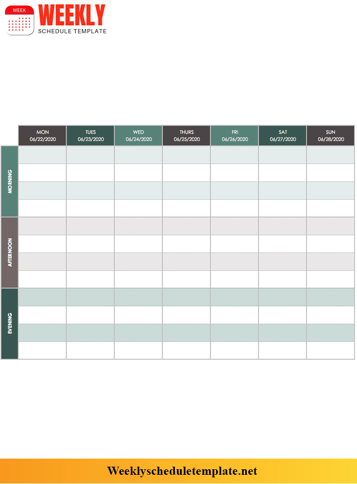 Weekly Schedule Template Google Docs